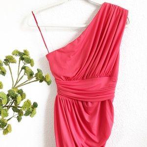 HALSTON HERITAGE Ruched One Shoulder Dress